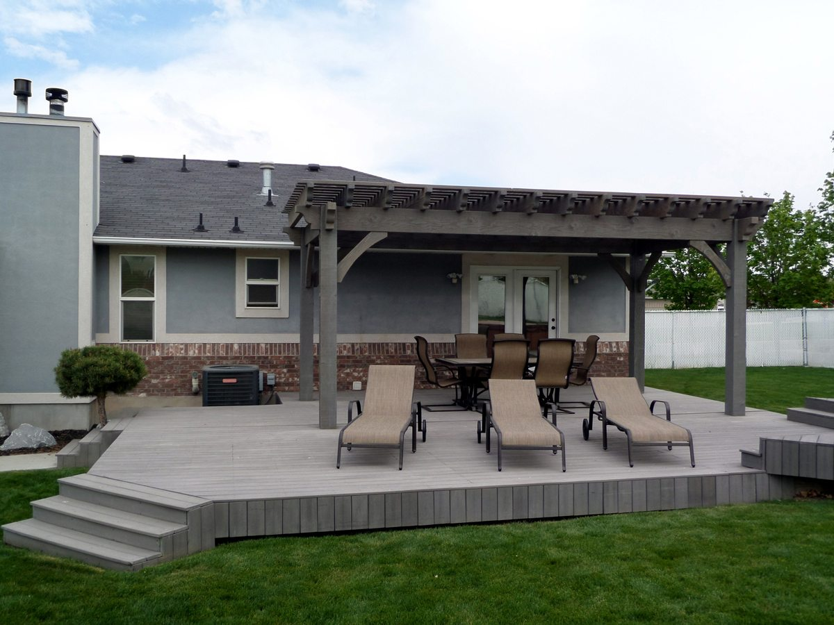 dovetail timber framed pergola deck