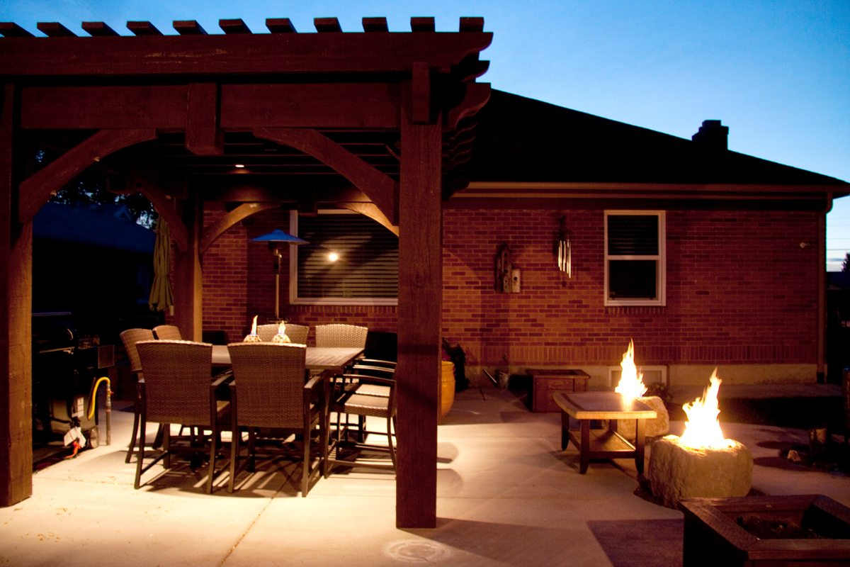 outdoor lighting fire pits pergola