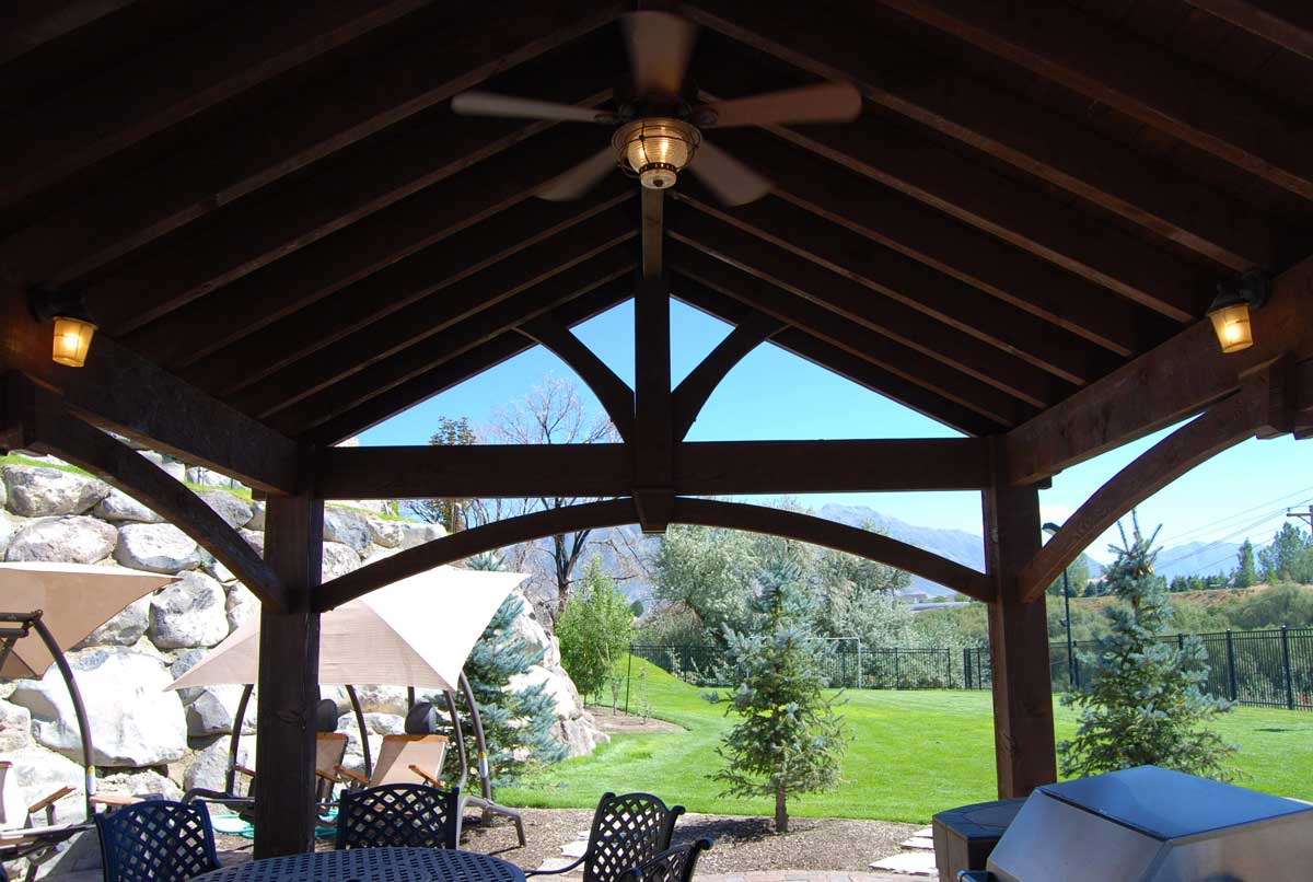 timber frame pavilion lights fan