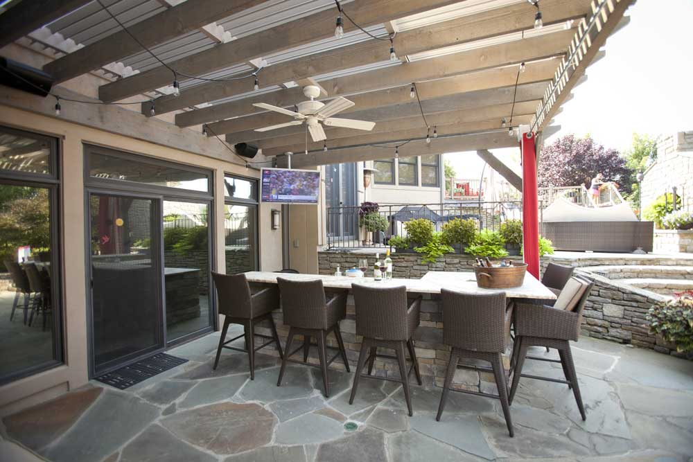 outdoor kitchen tv fan lights