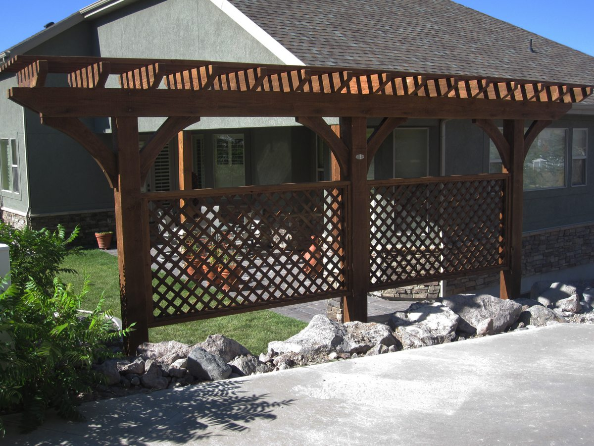 arbor with trellis shade