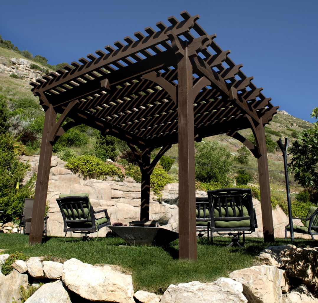 Timber frame pergola outdoor furniture.