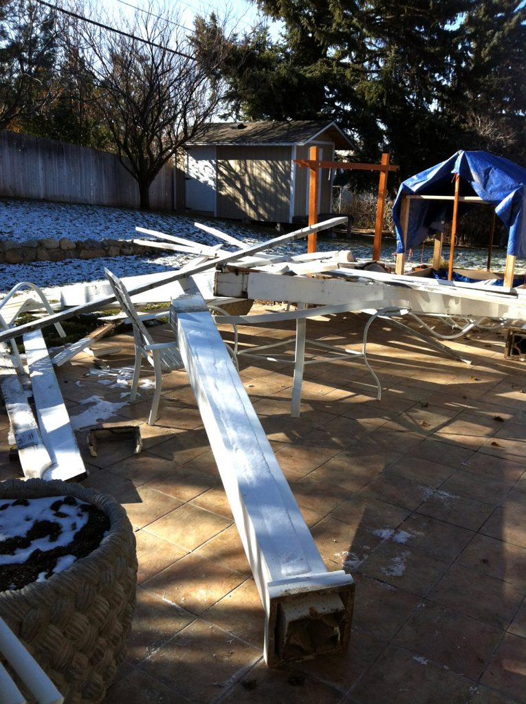 aluminum pergola blown down