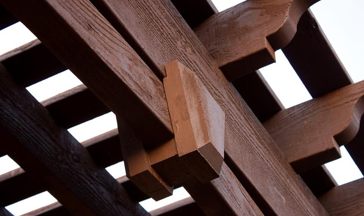 Timber frame pergola close-up