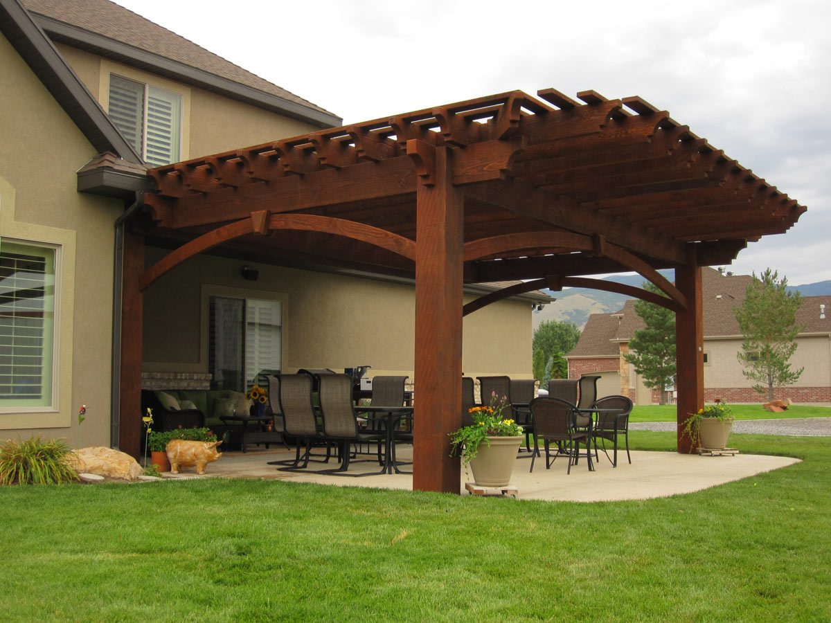 2 diy arbors awnings decks pavilions pergolas bridge in rich sequoia western timber frame - Pergola with roof ...