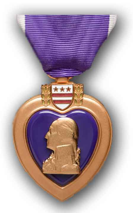 purple heart badge of military merit.
