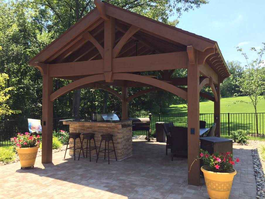 Perfect Poolside Pavilion Kit Over Outdoor Kitchen