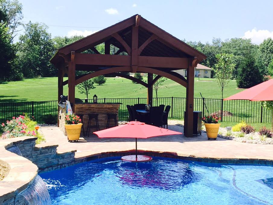 Perfect poolside pavilion kit over outdoor kitchen for Western pool show 2015