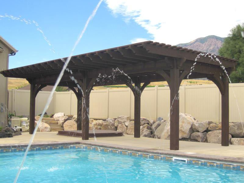 timber frame pergola - 20 Cool Pool Side Shade: Pergolas, Pavilions & Arbors Western