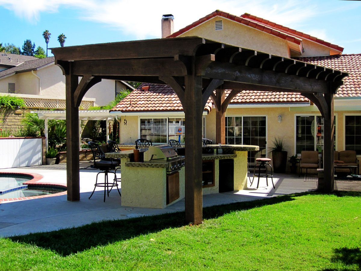 20 cool pool side shade pergolas pavilions arbors for Outdoor kitchen gazebo design