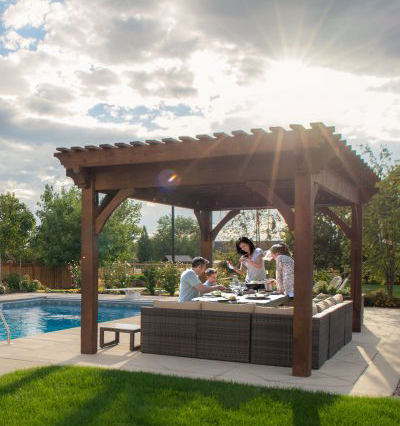 pergola picnic pool family