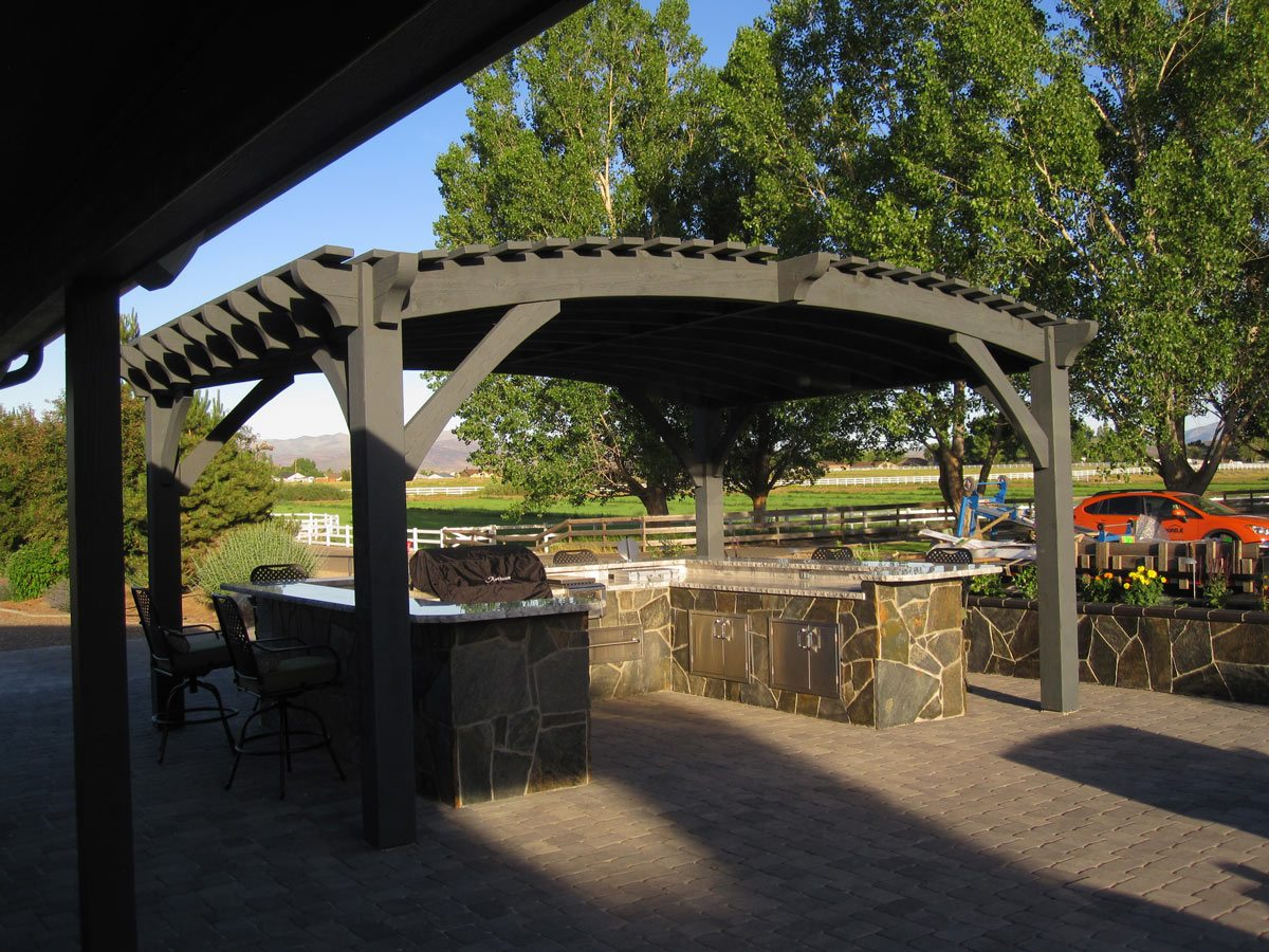 A continuous curved arch that forms a timber frame roof for a pergola adds  interest as well as drawing the eye upwards giving the perception of a  grandeur ... - 12 Pergola Roofing Design Ideas Western Timber Frame