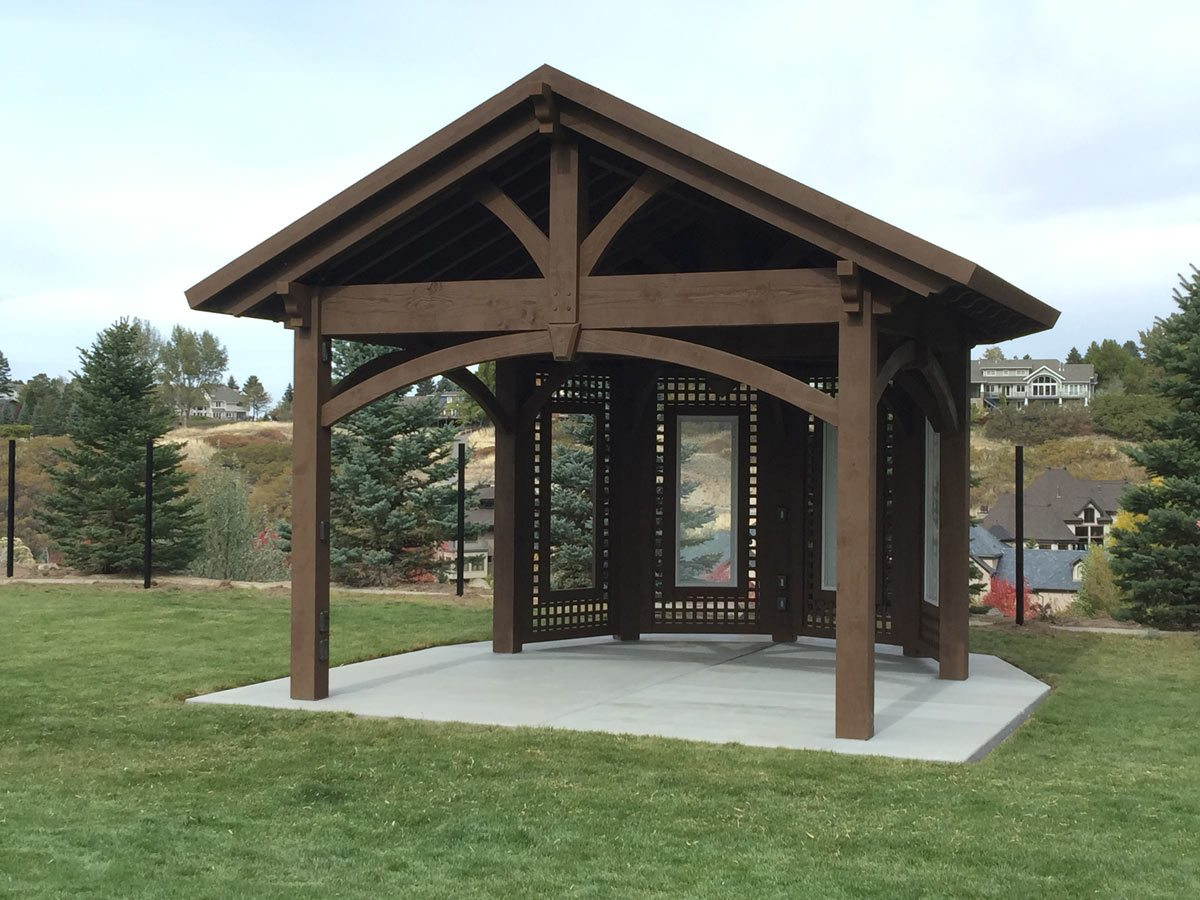 Cedar city attached pergola with translucent corrugated roof western timber frame - Pergola with roof ...