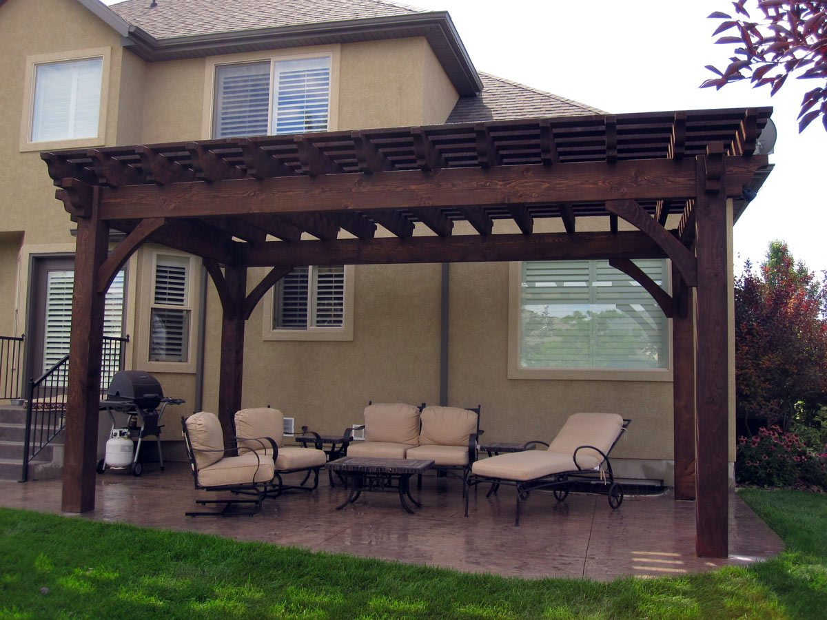 12' x 20' timber frame pergola kit installed over backyard patio for shade. - Planning For A 12' X 20' Timber Frame Over-sized DIY Pergola