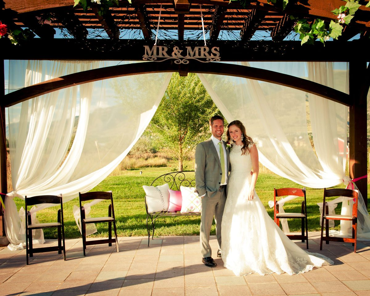 mr mrs wedding pergola