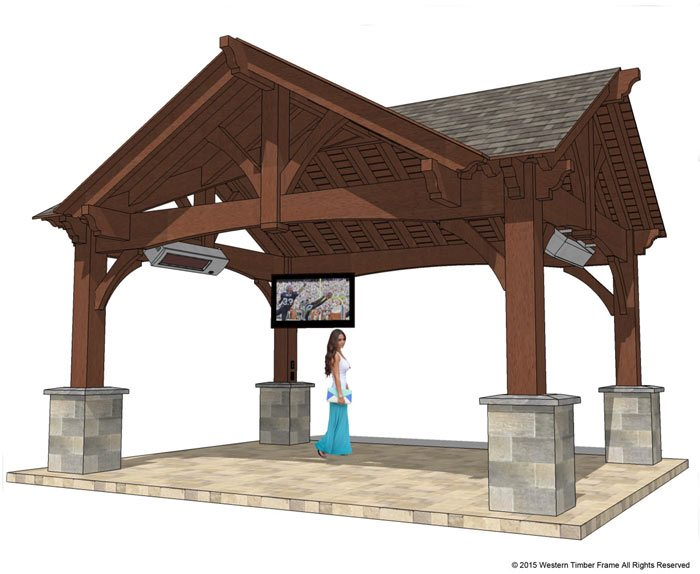 22'x24' Hip Roof Pavilion w/ Integrated Self-Contained Power