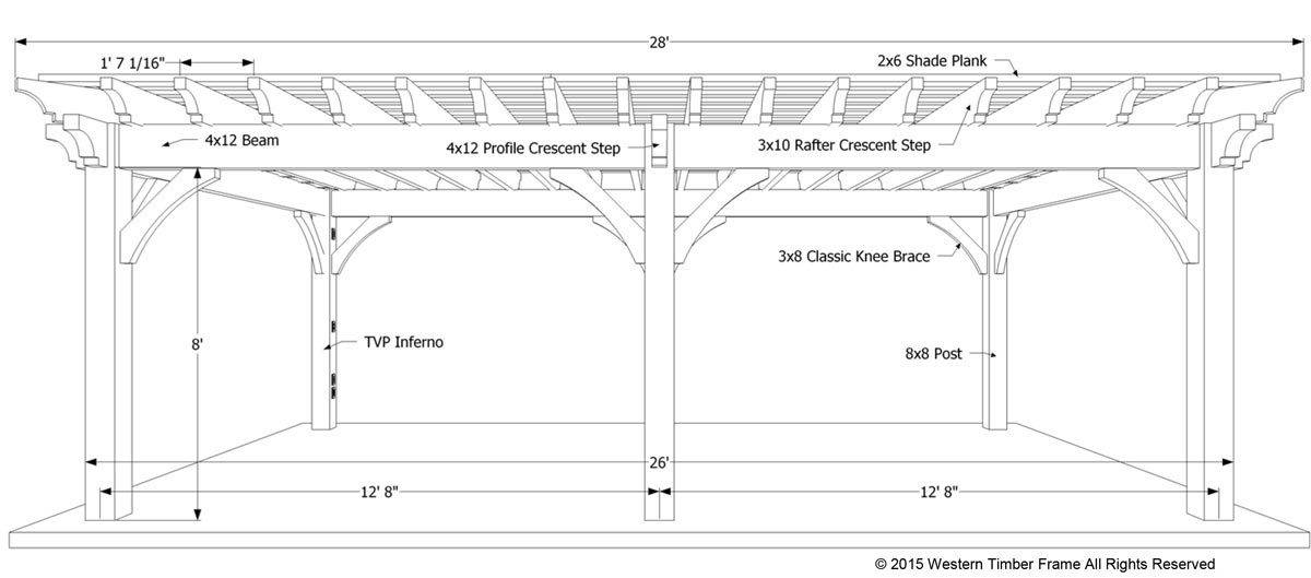 specs pergola plans - Plan For A Carefree & Easy DIY Project: 16' X 28' Timber Frame