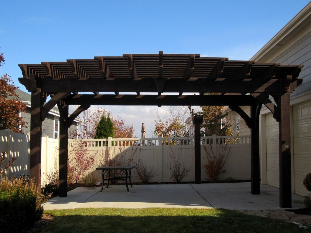 Timber frame pergola with cantilever roof