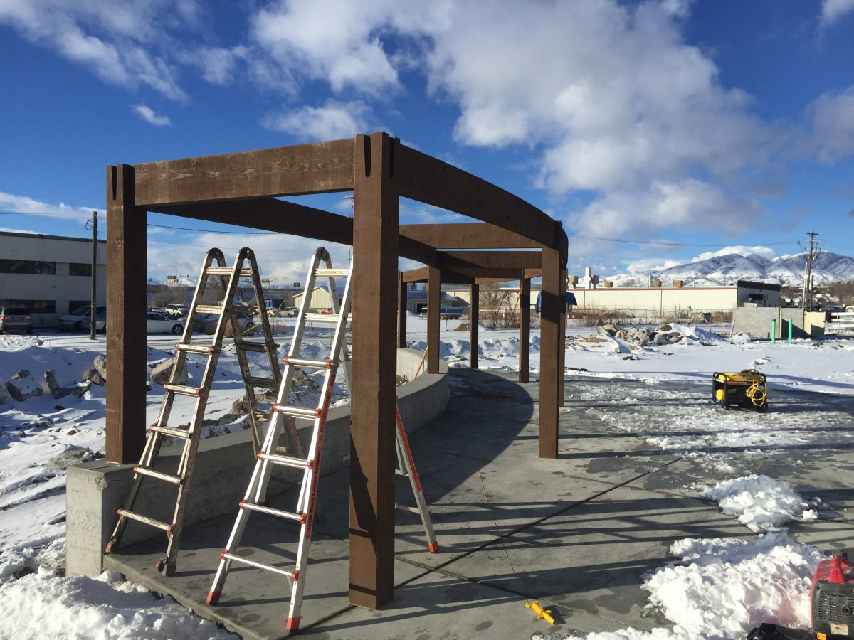 timber frame arbor winter