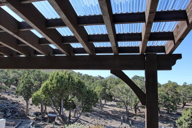 Cedar City Attached Pergola with Translucent Corrugated Roof | Western Timber Frame