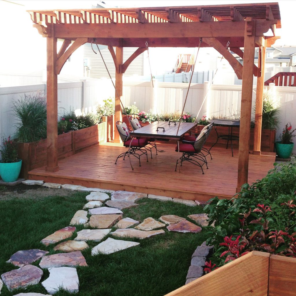 Awe Douglas-Fir Pergola, Planters, Deck & Suspension Table - Awe Douglas-Fir Pergola, Planters, Deck & Suspension Table Western
