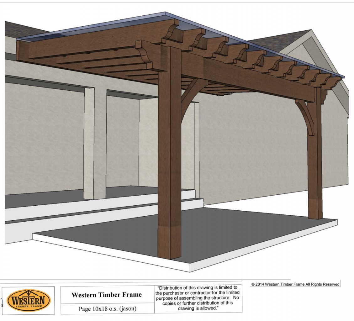 pergola plan corrugated roof - Cedar City Attached Pergola With Translucent Corrugated Roof