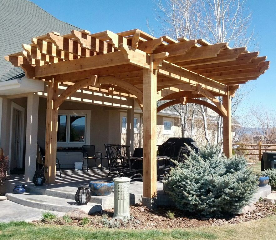 More Shade Plan Diy Solid Cedar Wood Cantilevered Pergola Western Timber Frame