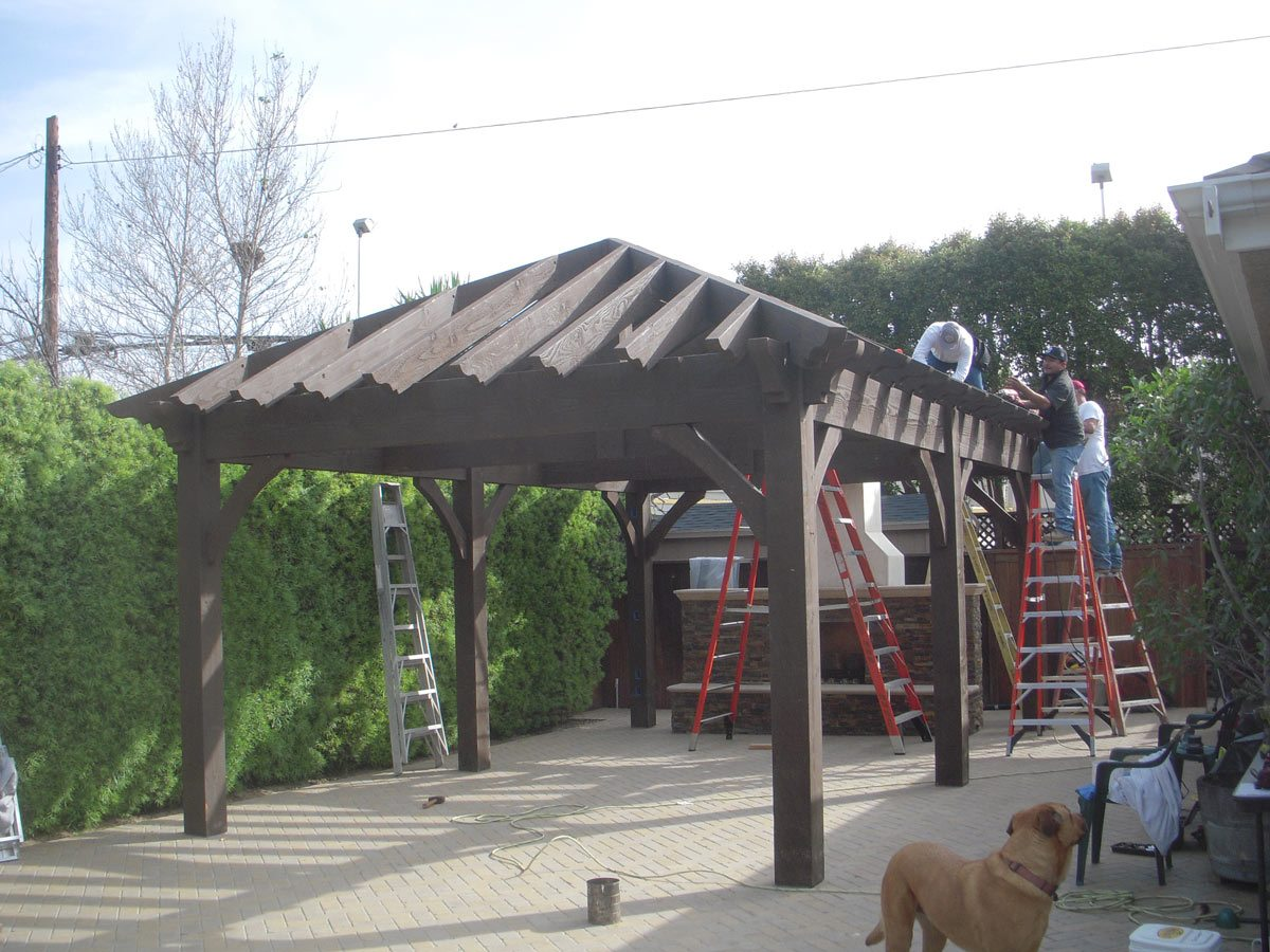 pavilion shade fireplace install