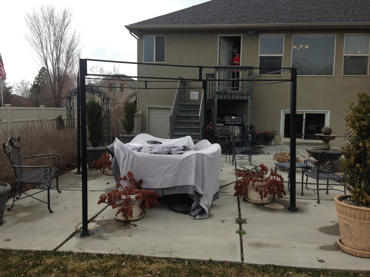 Metal pergola collapsed by wind