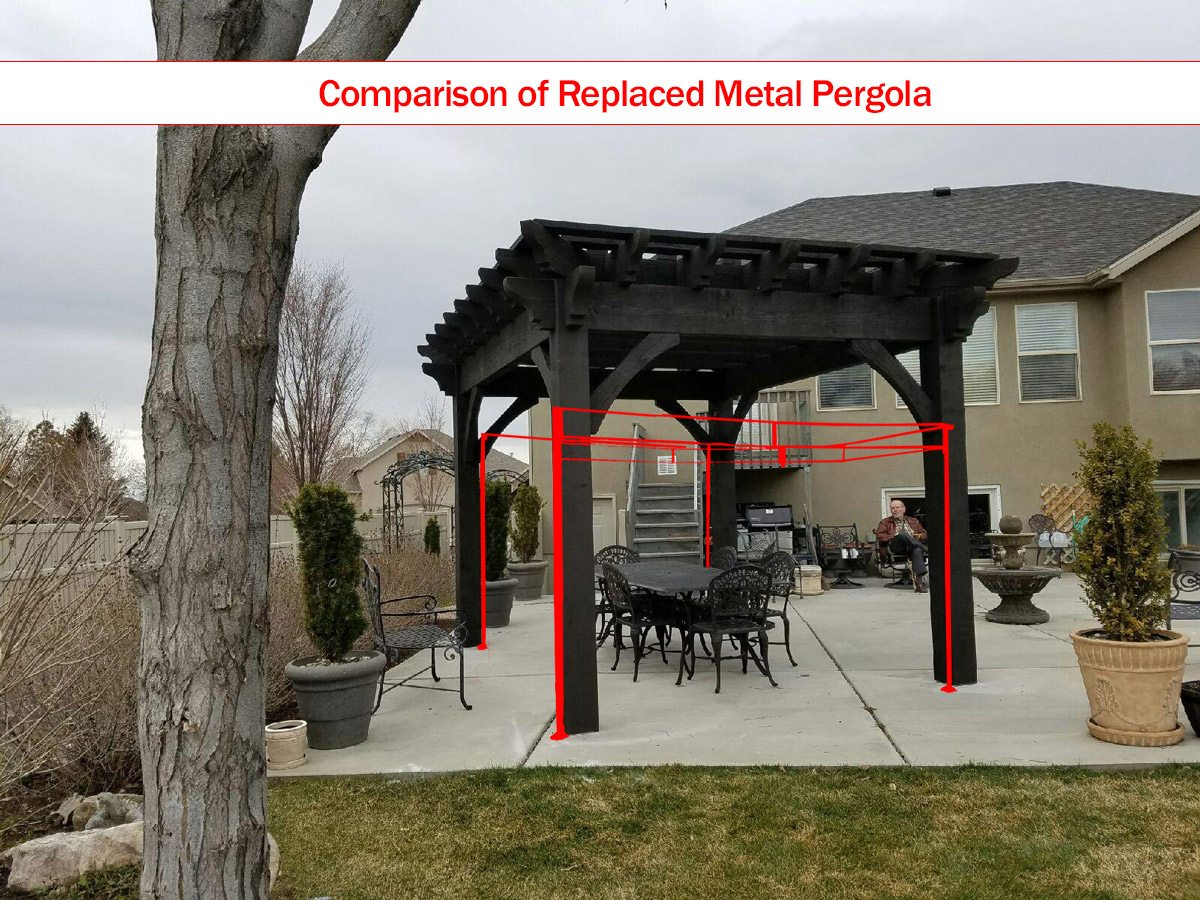 timber frame diy pergola kit that replaced the big box store damaged metal pergola kit with a comparison of the size - Pergola Kit