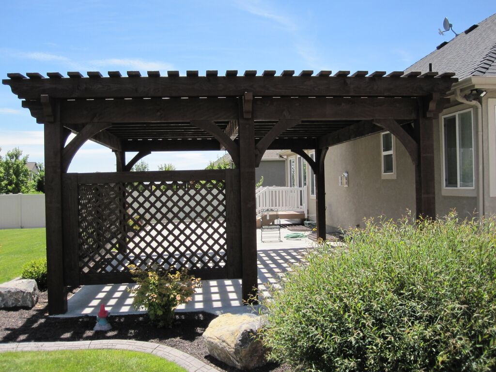 covered patio 5 post 20 39 x 20 39 diy pergola kit w lattice panels western timber frame. Black Bedroom Furniture Sets. Home Design Ideas