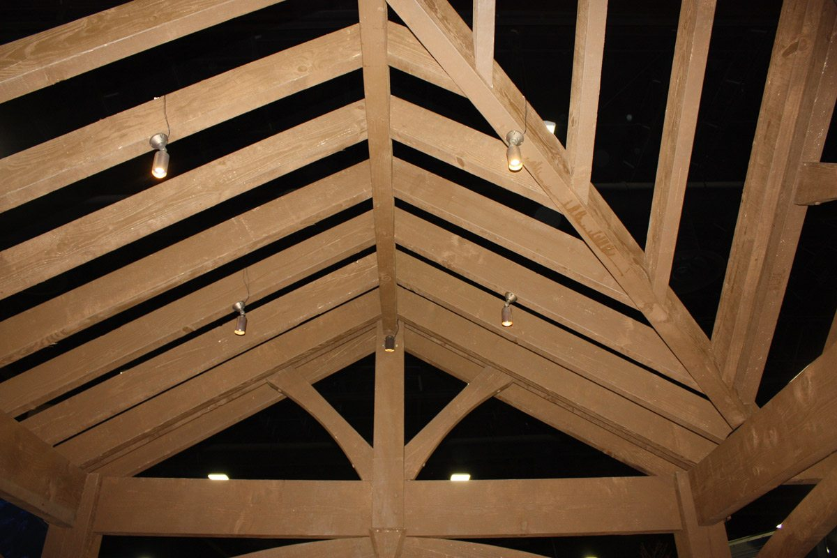 Timber frame ShadeScape pavilion roof rafters lighting