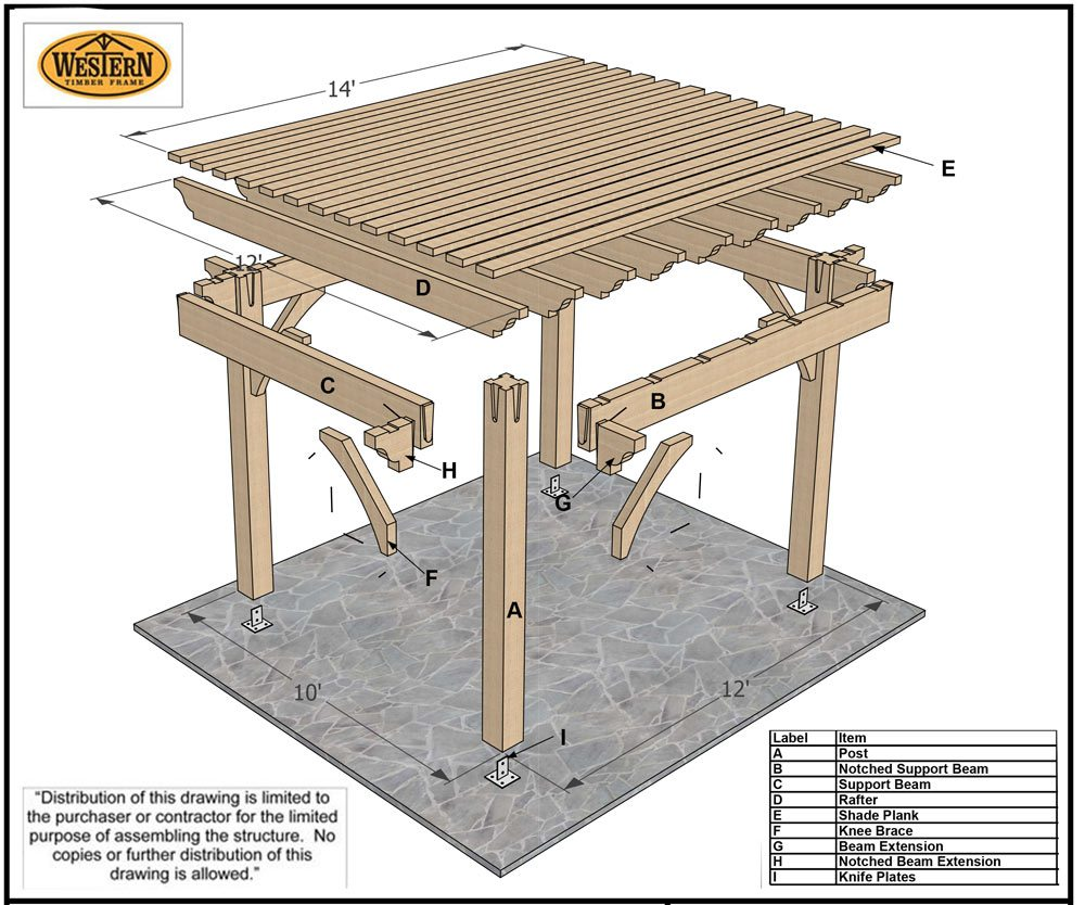 Timber Frame Pergola on Shed Plans 12 X 16 Blueprint