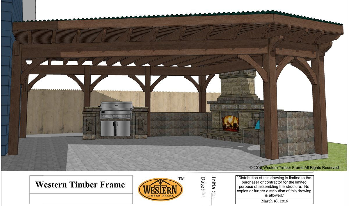 pergola plan fireplace