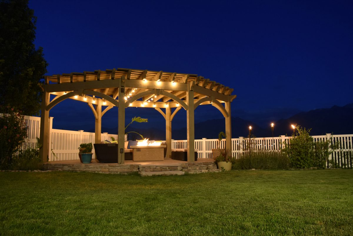 lights pergola fire pit