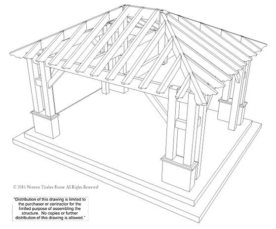 22 x24 hip roof pavilion w integrated self contained power I-Beam Connectors schematic hipped roof pavilion