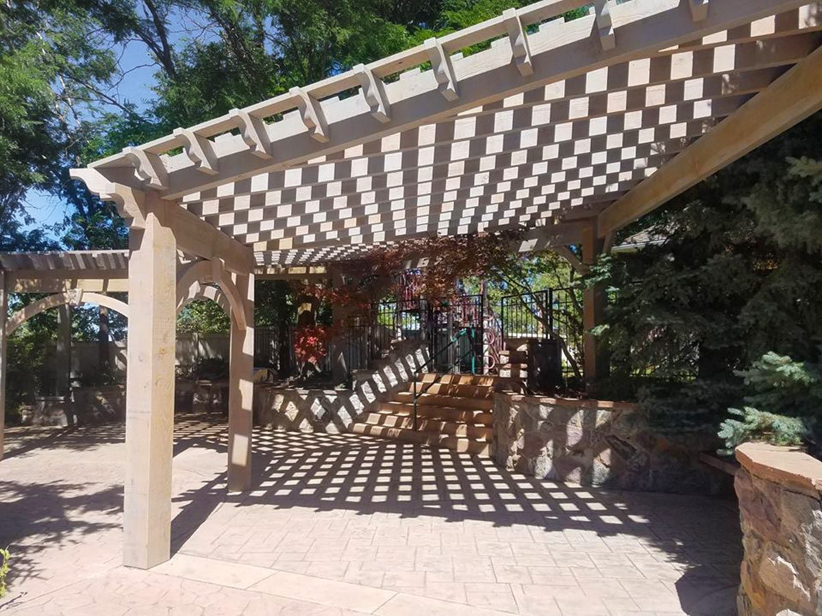 wood pergola replaced by