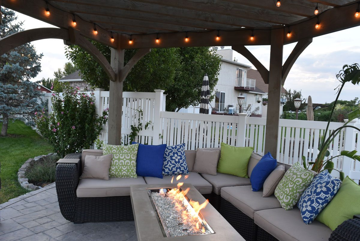 pergola fire table couches