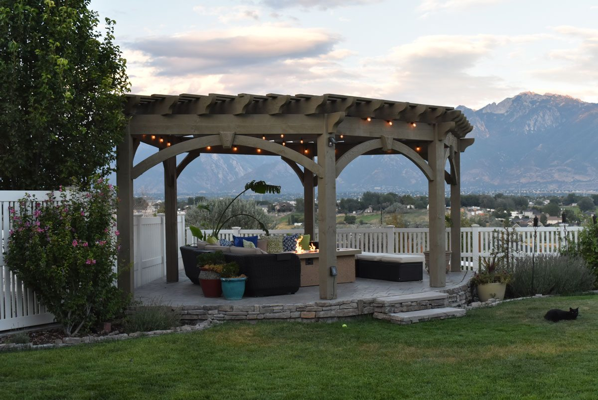 fire table pergola
