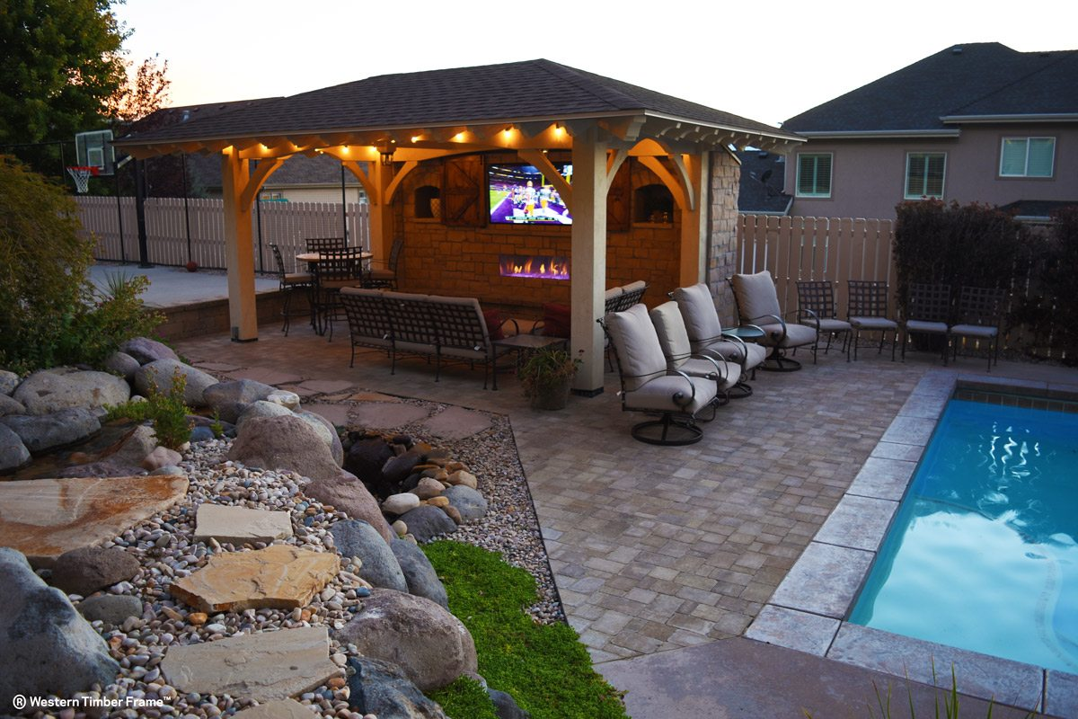 timber frame pavilion outdoor television