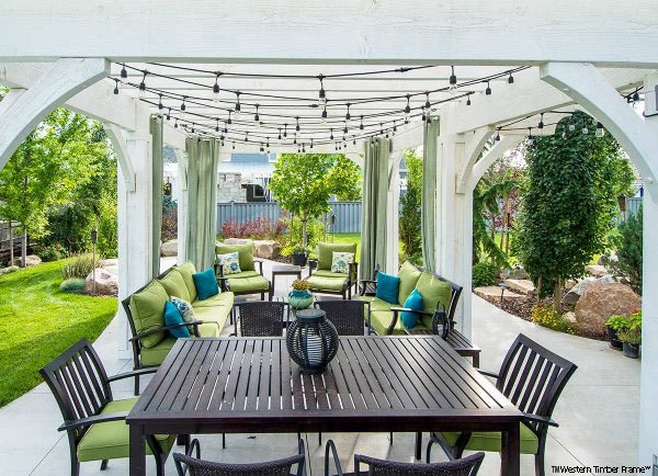 white shadescape pergola furniture
