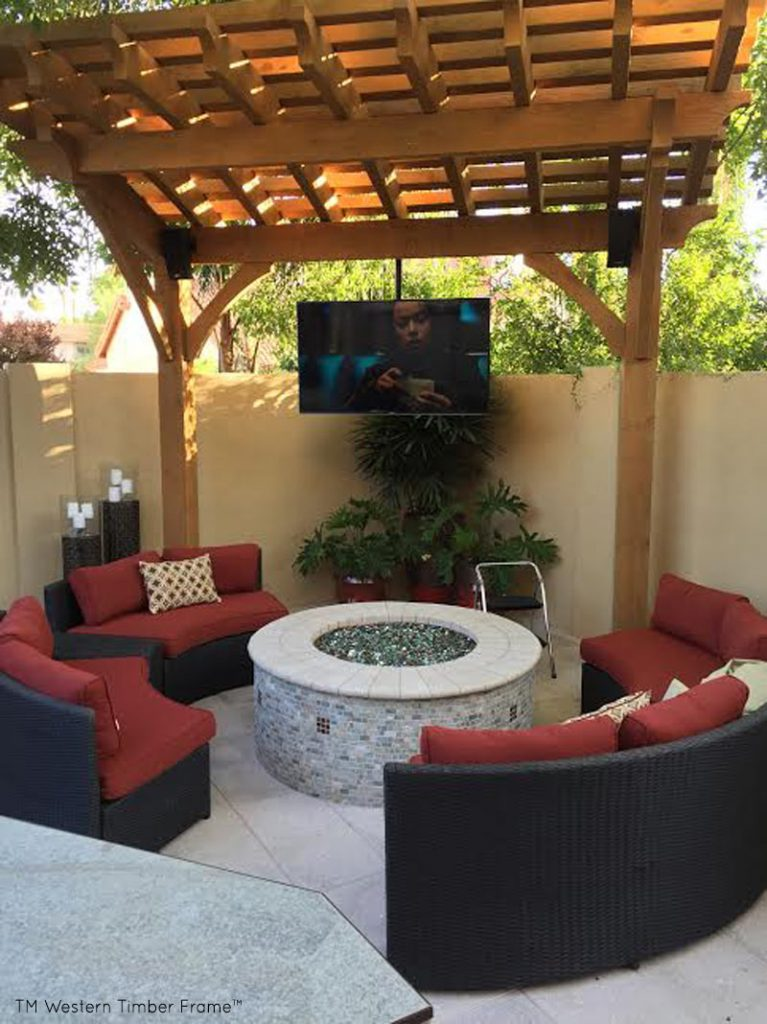 timber frame arbor outdoor tv