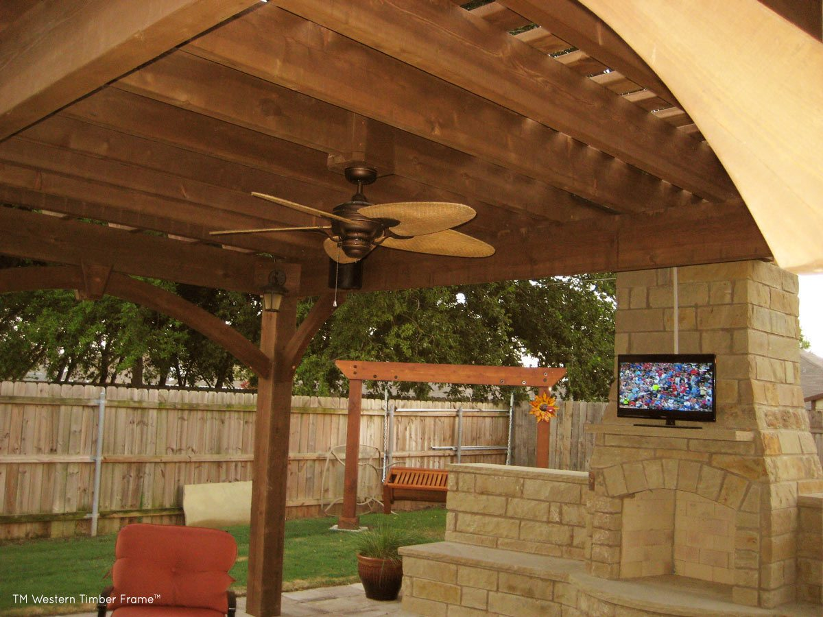 outdoor tv fireplace pergola