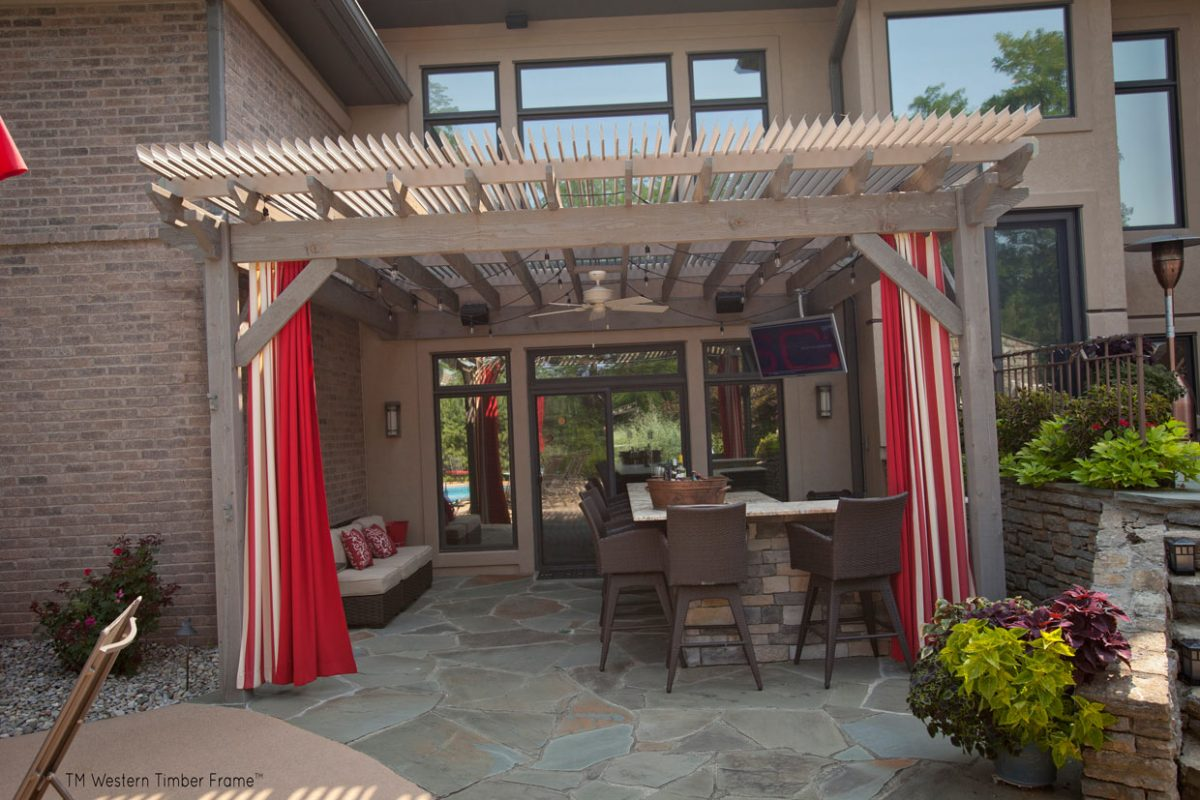 outdoor tv in a poolside pergola