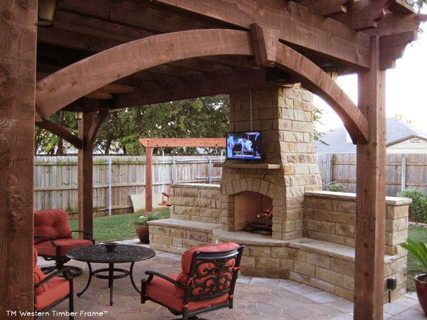 tv fireplace pergola