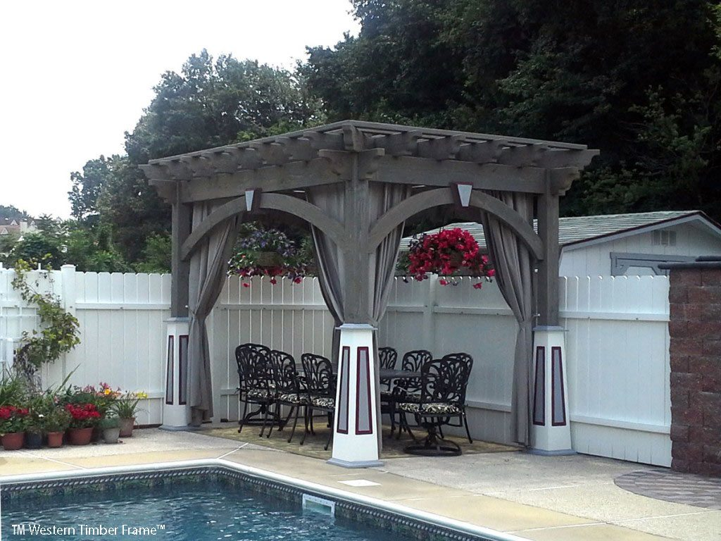 triple stain pool pergola