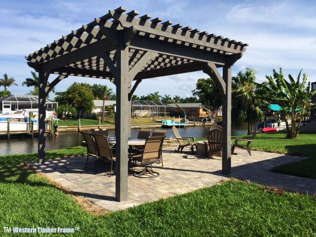 Diy Pergola Kits : Afternoon florida men install cedar diy pergola kit