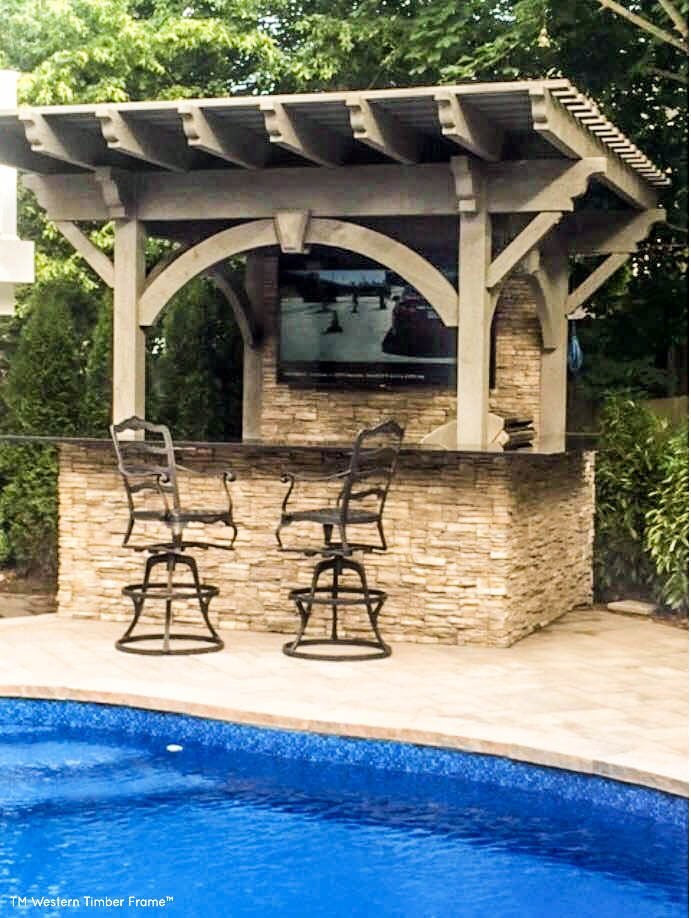outdoor tv by pool