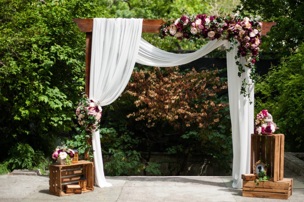 Wedding arbor decorated