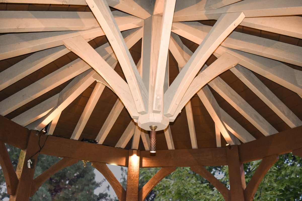 two stain gazebo roof